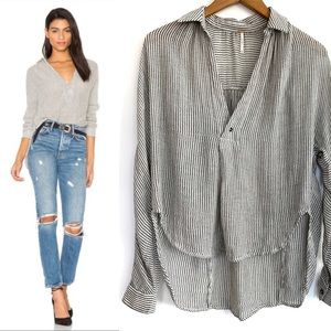 Free People Such Good Things Striped Popover Top